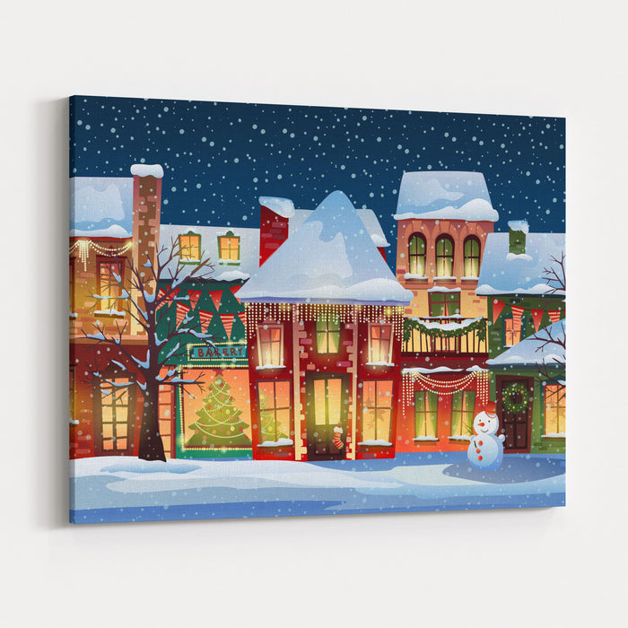 Terrific Winter Landscapechristmas Background With Fairy Tale Houses Snowy Town Atholiday Evevector Illustration Canvas Wall Art Print Interior Design Ideas Skatsoteloinfo