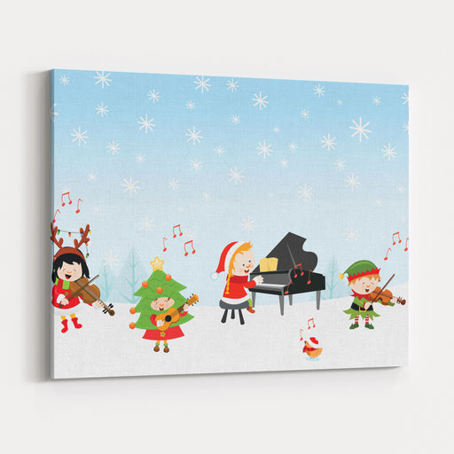 KIds Playing Christmas Songs Canvas Wall Art Print