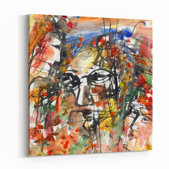 Faces, Abstract Acrylic Painting On Paper, Artistic Background Canvas Wall Art Print