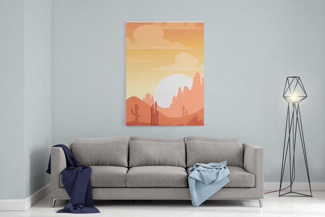Cartoon Desert Landscape, Sunset Silhouette Illustration, Canvas Wall Art Print