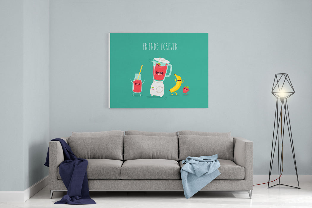 Blender Making Fruits Smoothie Vector Illustration Canvas Wall Art Print
