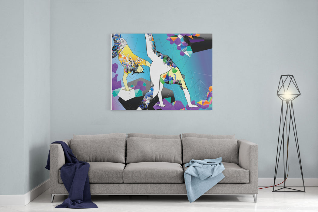 Brazilian People Playing Capoeira Martial Arts In Brazil Abstract Illustration Canvas Wall Art Print