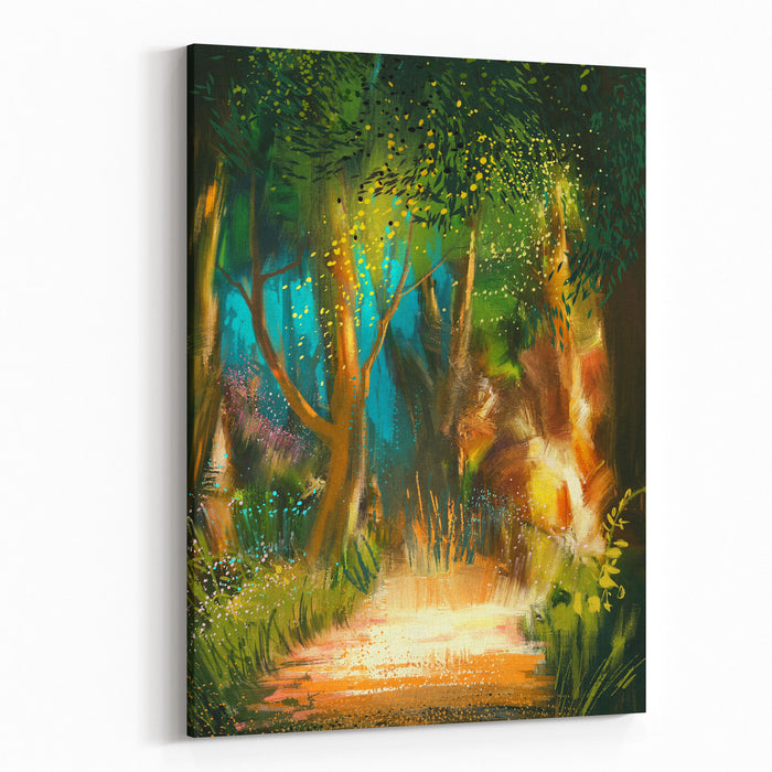 Beautiful Forest Path In Morning,illustration Painting Canvas Wall Art Print