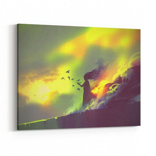 Burning Woman Standing Against Cloudy Sky,illustration Painting Canvas Wall Art Print