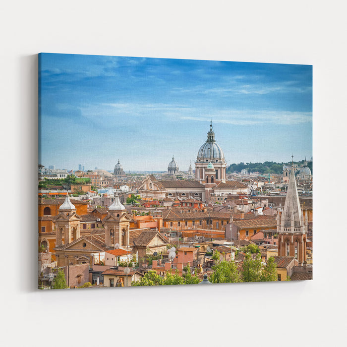Aerial Panoramic Cityscape Of Rome, Italy Canvas Wall Art Print