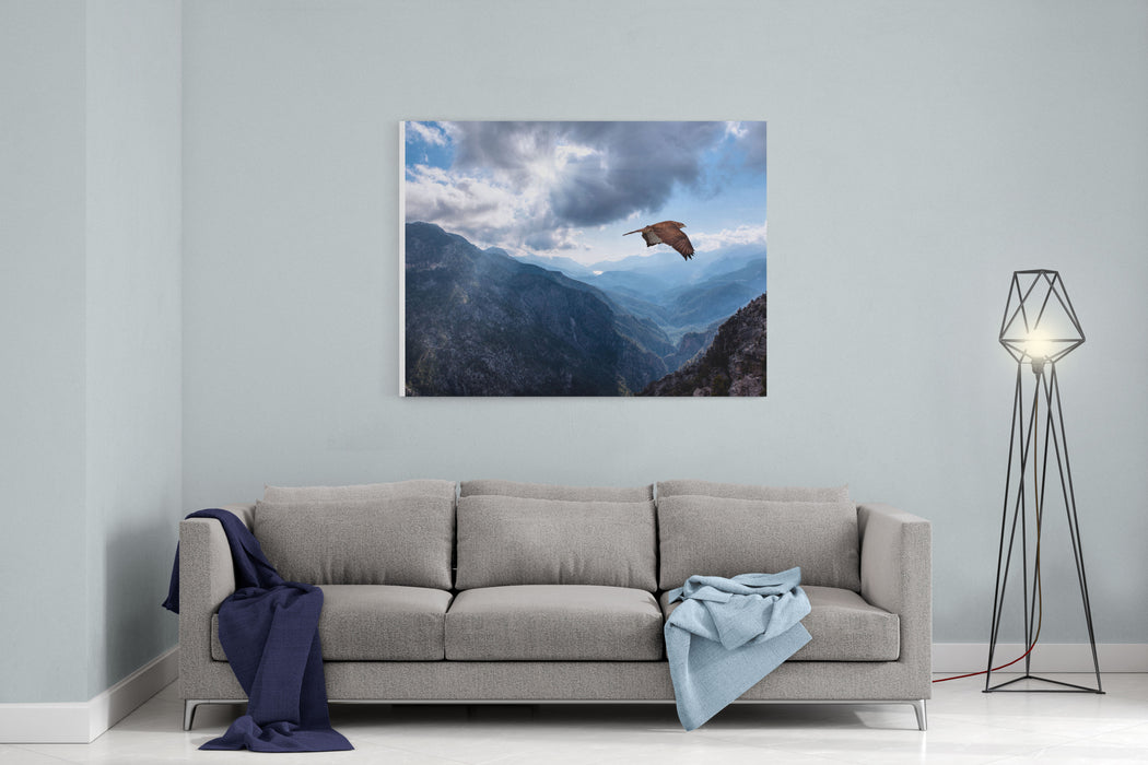 Hawk Flying Over The Mountains Canvas Wall Art Print
