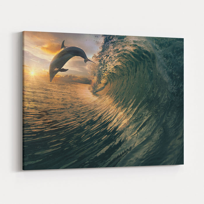 Big Ocean Breaking Wave And Sunset Dolphin Leaping Canvas Wall Art Print