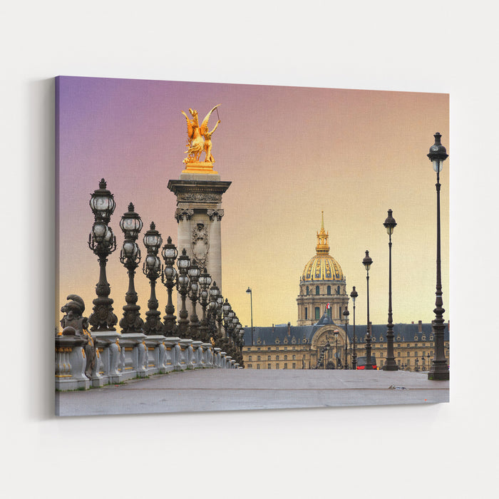 Beautiful Sunrise At The Pont Alexandre III And Les Invalides In Paris Canvas Wall Art Print