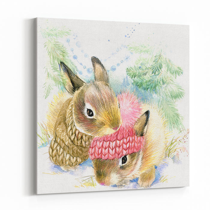 Cute Bunny In Winter Forest Watercolor Drawing Illustration For Christmas Greetings Card Canvas Wall Art Print