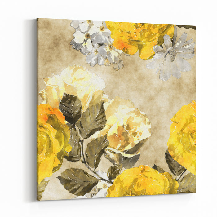 Art Monochrome Watercolor Vintage Floral Seamless Pattern With Gold Yellow And White Roses, Phlox And Asters On Beige Background Canvas Wall Art Print