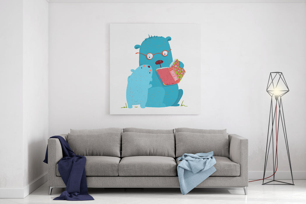 Bear Parent Reading Book To Kid Animal Cartoon, Teddy Read And Education, Vector Illustration Canvas Wall Art Print
