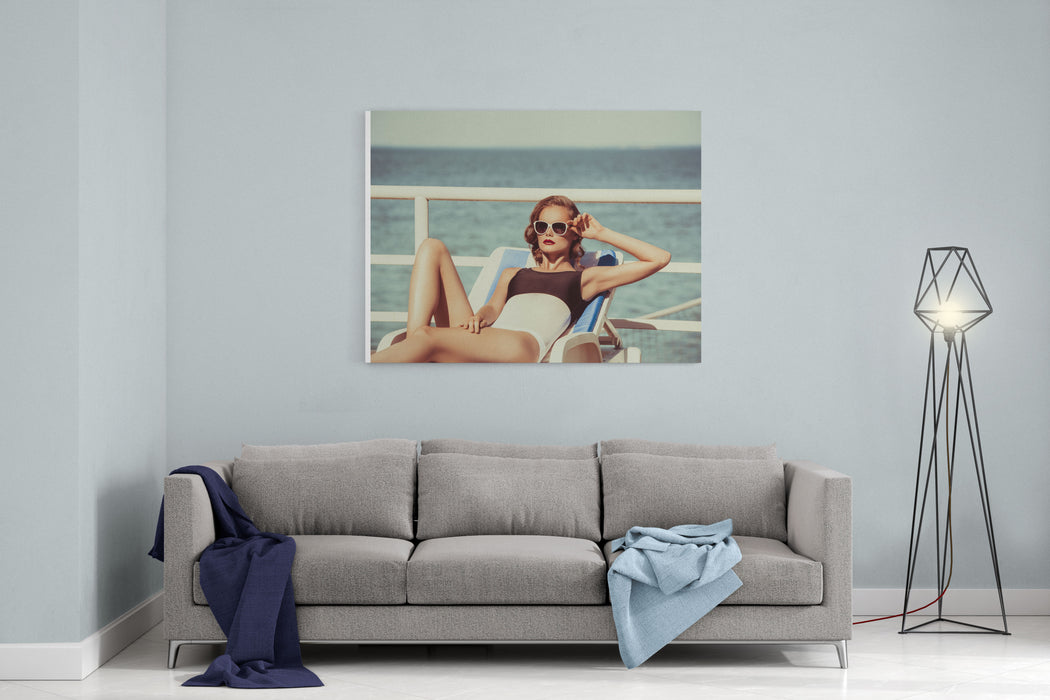 Beautiful Brown Hair Woman Wearing Bikini Young Girl Model In Sunglasses And Elegant Black And White Sexy Swimsuit Lingerie Near Swimming Pool With Clear Blue Water,  Full Relax Vintage Sunbathe Canvas Wall Art Print