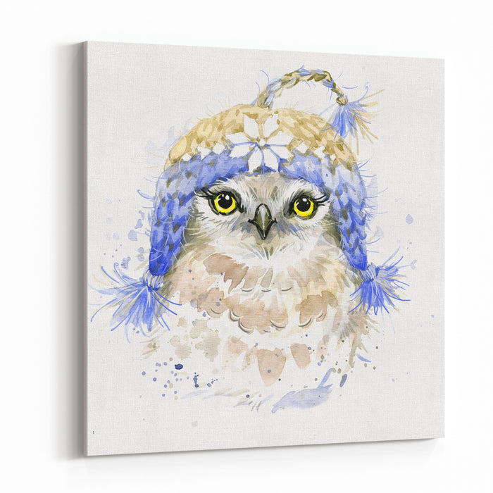 Cute Owl Tshirt Graphics Watercolor Illustration Poster For Textiles, Fashion Design Canvas Wall Art Print