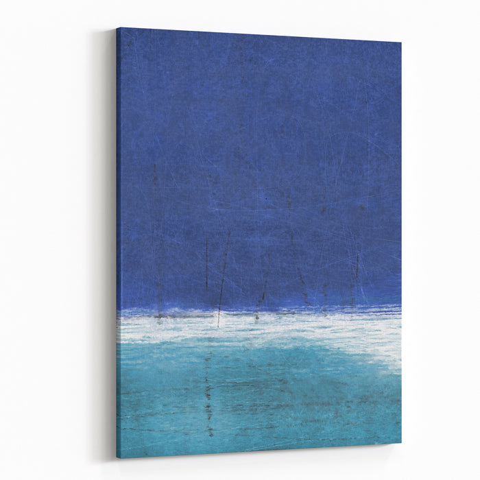Blue And Turquoise Abstract Art Painting Canvas Wall Art Print