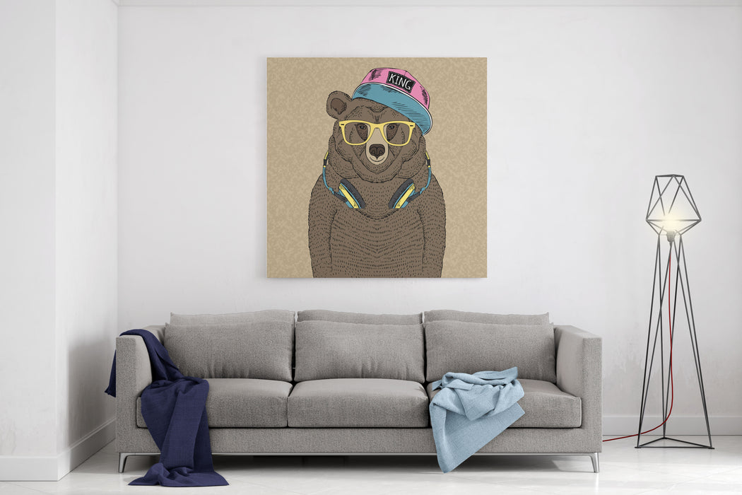 Cute Portrait Of Bear With Headphones, Hand Drawn Graphic, Kid Print Canvas Wall Art Print