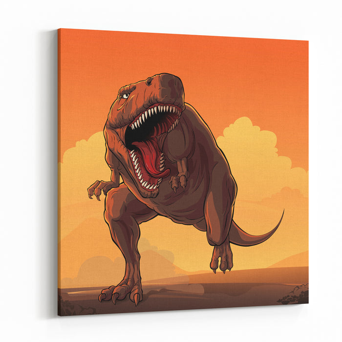 Giant Prehistoric Monster Of Dinosaur Age, Tyrannosaur Rex Canvas Wall Art Print