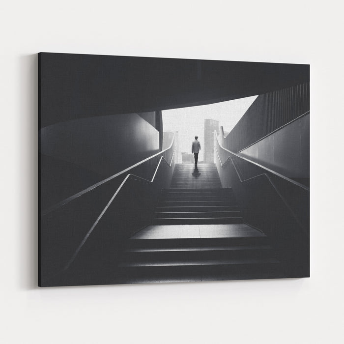 Man Going From Underground To The City Canvas Wall Art Print ...
