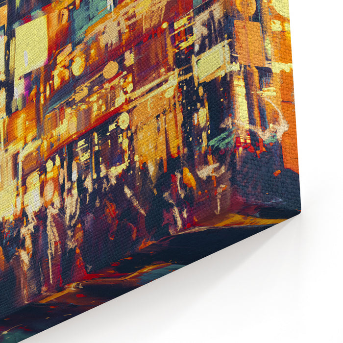 Painting Of City Life At Night,people Walking In Shopping Street,illustration Canvas Wall Art Print