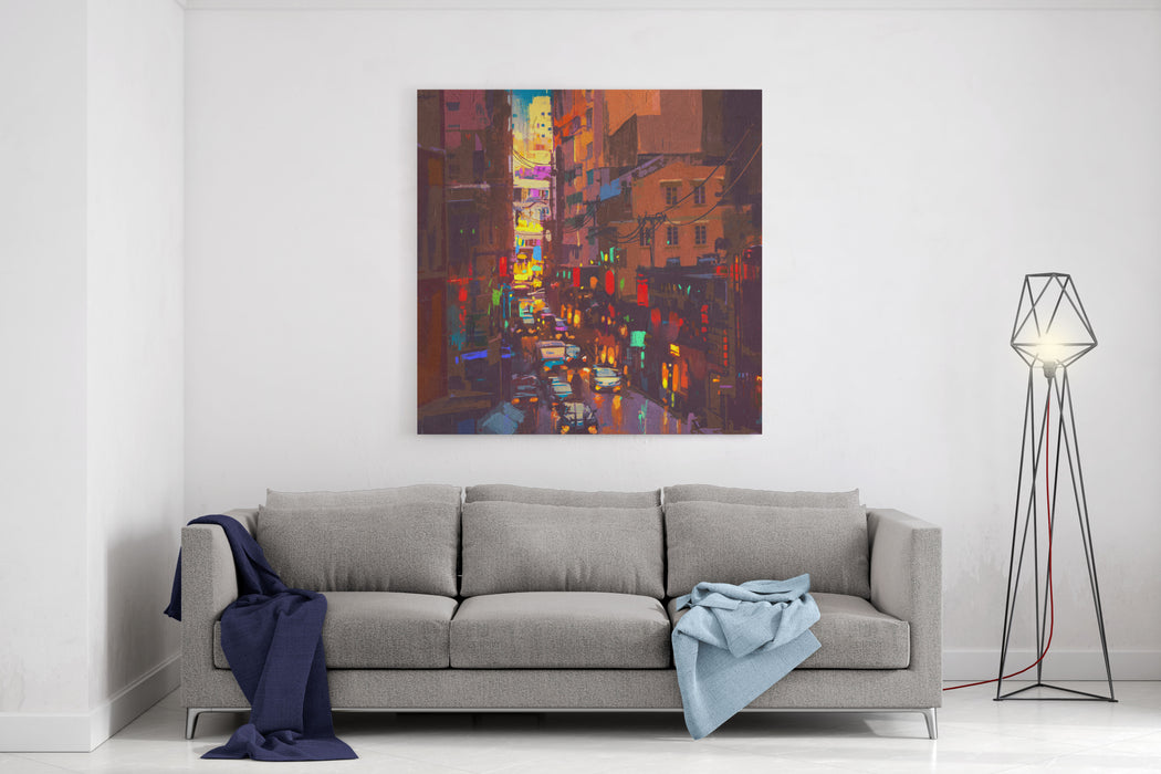 The City Lights,evening Traffic,digital Painting Canvas Wall Art Print