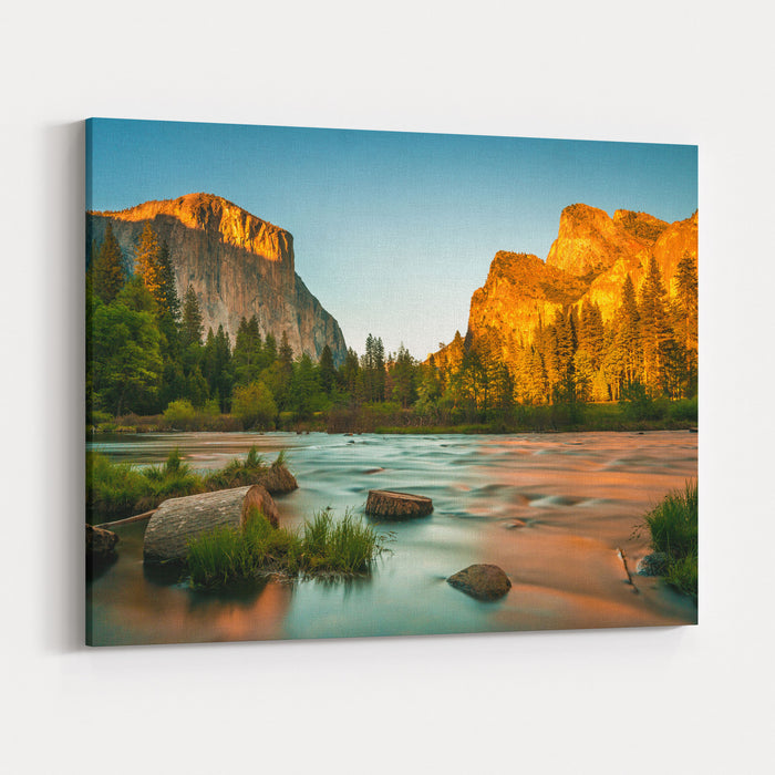 Yosemite Valley View Sunset Canvas Wall Art Print