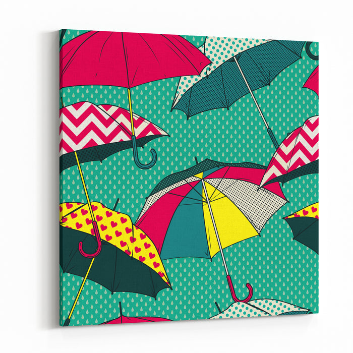 Seamless Vector Pattern With Colorful Umbrellas Canvas Wall Art ...