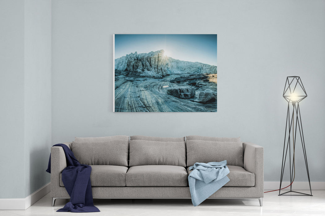 Awesome Sunrise Over The Glacier In The Greenland Canvas Wall Art Print
