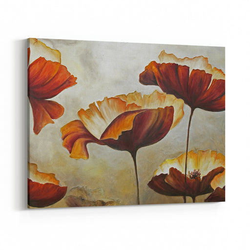 Painted Picture Of Poppies Canvas Wall Art Print