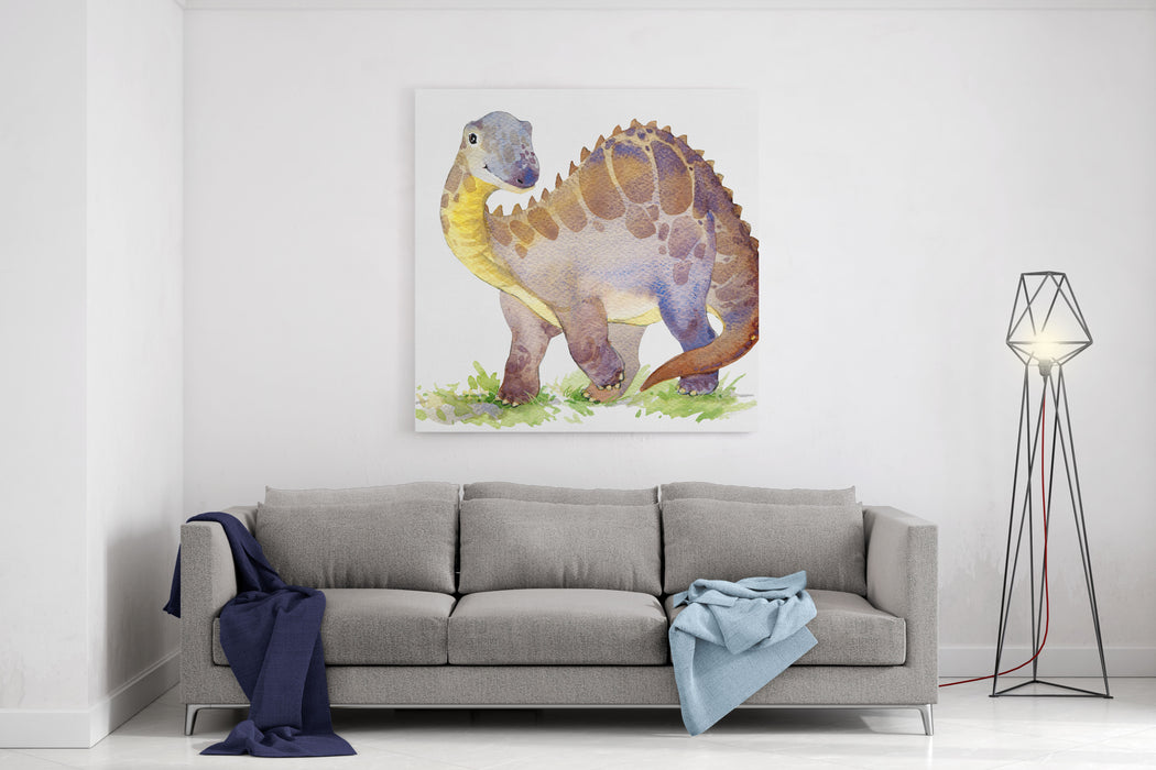 Cartoon Dinosaur Watercolor Illustration Canvas Wall Art Print
