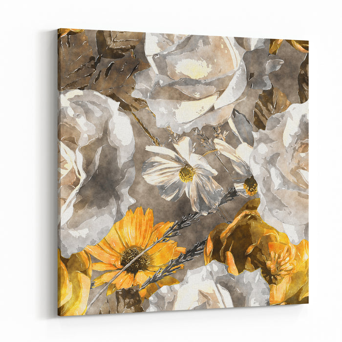 Art Vintage Monochrome Watercolor Floral Seamless Pattern With White And Gold Yellow Roses And Asters On Grey Background Canvas Wall Art Print