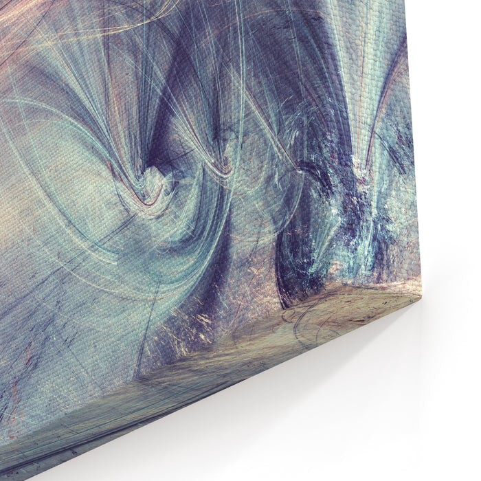 Fantasy Landscape In Soft Blue And Pink Colors Modern Futuristic Painting Background With Lighting Effect Fractal Artwork For Creative Graphic Design Canvas Wall Art Print