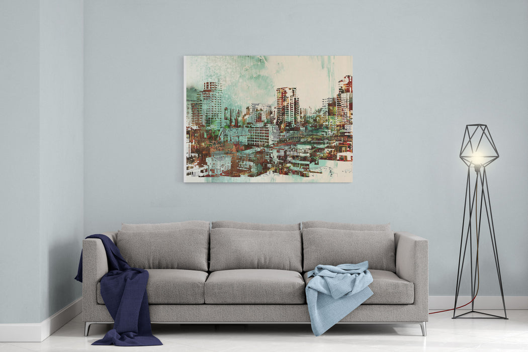 Cityscape With Abstract Textures,illustration Painting Canvas Wall Art Print