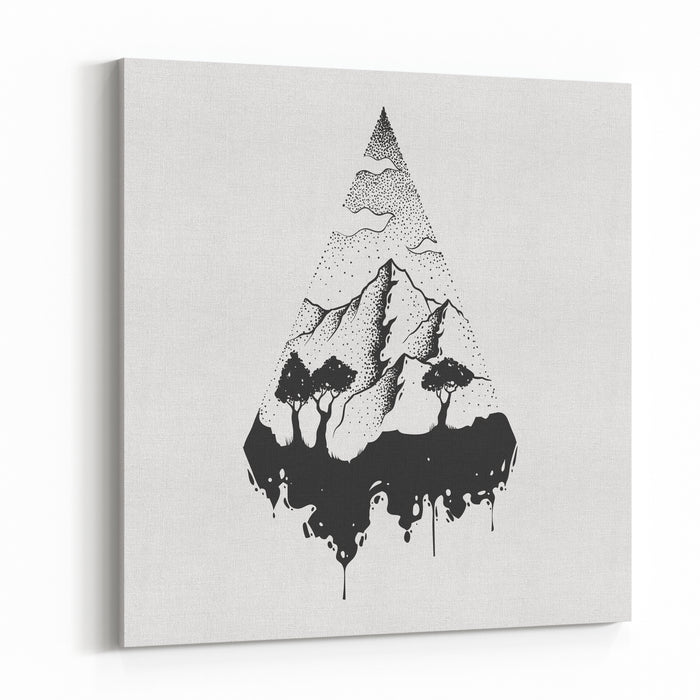 Abstract The Mountains Hand Draw Canvas Wall Art Print