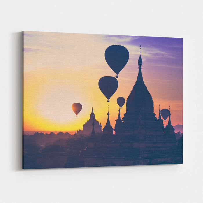 Amazing Misty Sunrise Colors And Balloons Silhouettes Over Ancient Dhammayan Gyi Pagoda Architecture Of Old Buddhist Temples At Bagan Kingdom Myanmar Burma Travel Landscapes And Destinations Canvas Wall Art Print