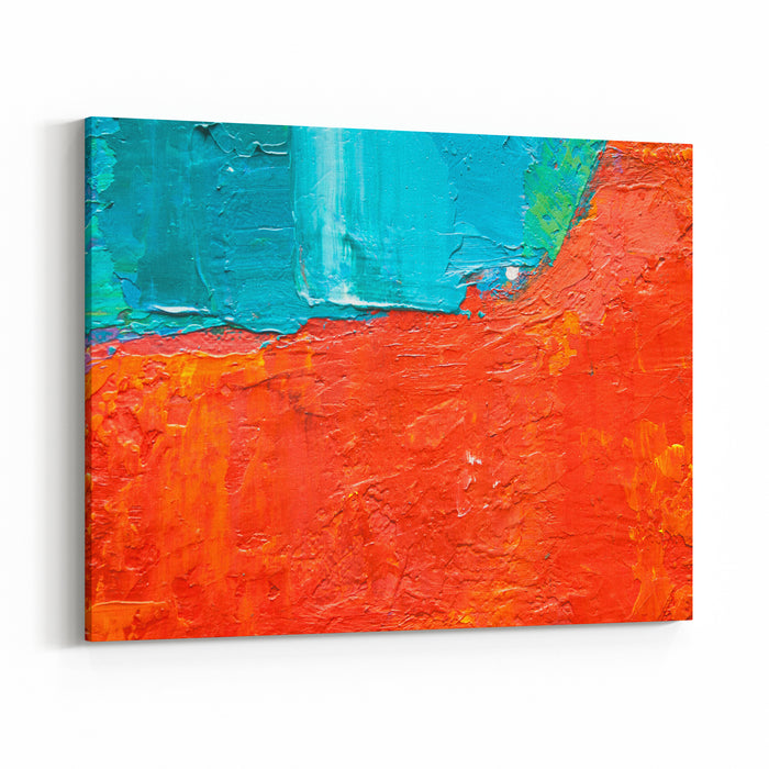 Hand Drawn Oil Painting Abstract Art  Background Oil Painting On Canvas Color Texture Fragment  Artwork Red And Blue Paint Brushstrokes Of Paint Modern Art Contemporary Art Colorful Canvas Canvas Wall Art Print