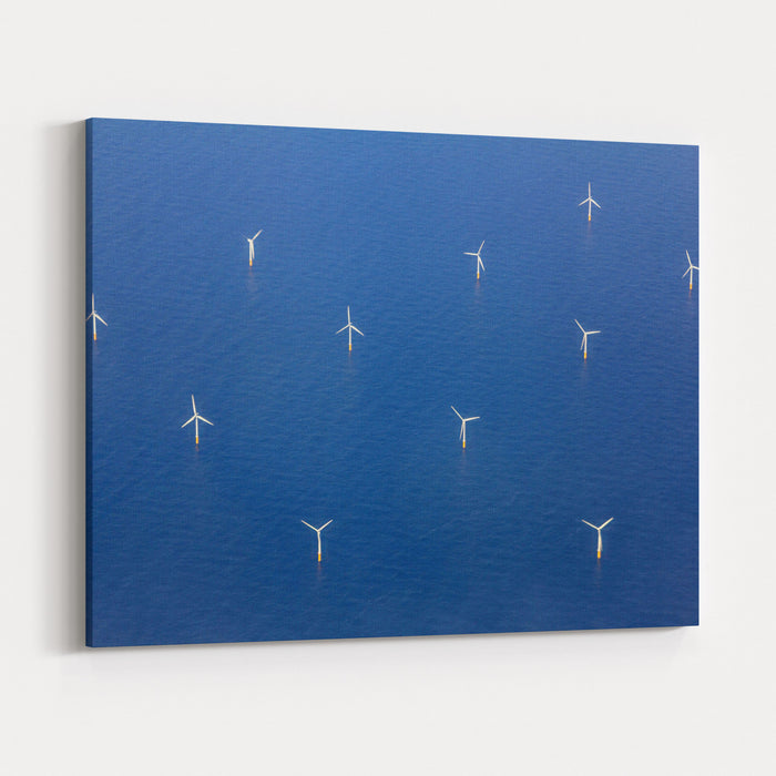 Aerial View Of Wind Turbines In The Sea Canvas Wall Art Print