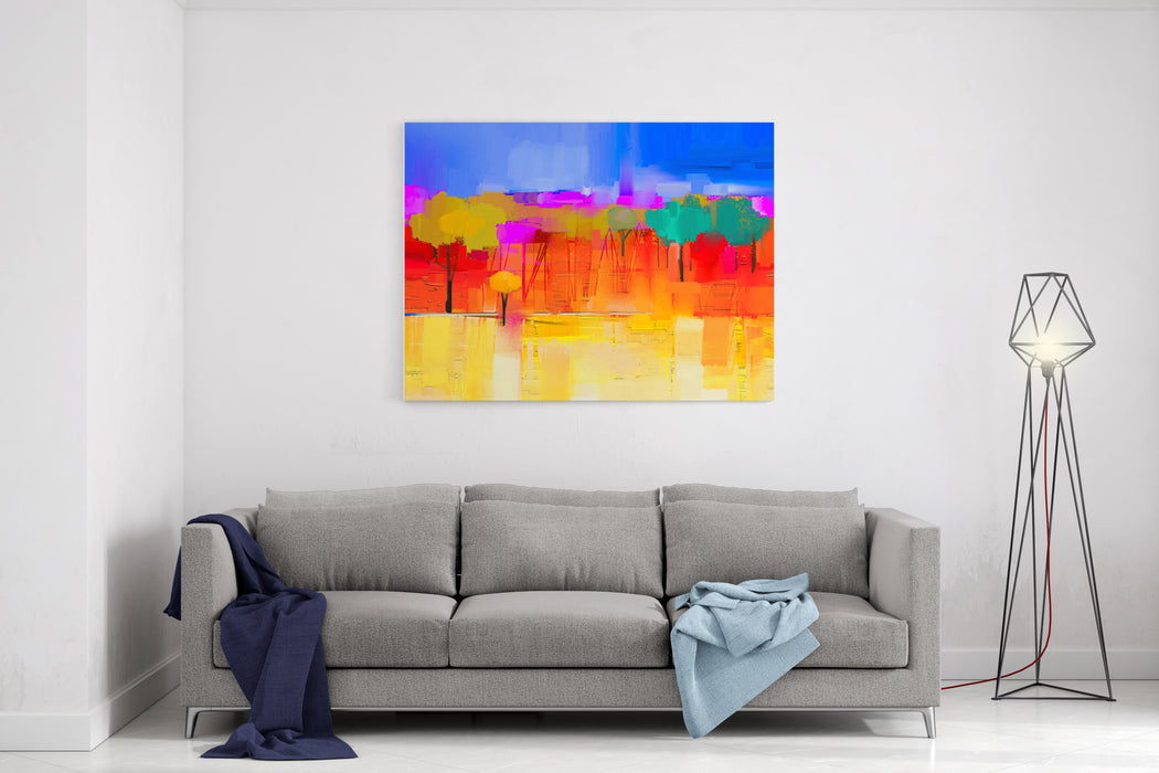 Abstract Colorful Oil Painting Landscape On Canvas Semi Abstract Image Of Tree And Field In Yellow And Red With Blue Sky Spring Season Nature Background Canvas Wall Art Print
