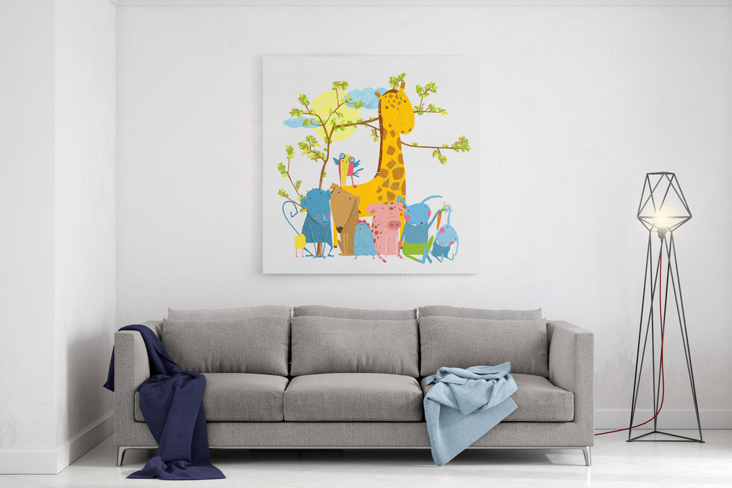 Cartoon Zoo Friends Animals Group Funny Zoo And Farm Animals Sitting Together Under The Tree Vector Illustration Canvas Wall Art Print