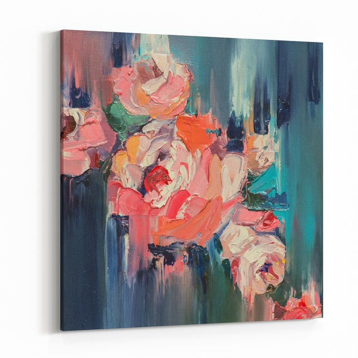 Colorful FlowersOriginal Oil Painting Canvas Wall Art Print