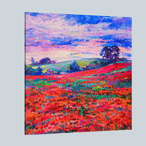 Original Oil Painting Of Poppy Field In Front Of Beautiful Sunset On Canvas Modern Impressionism Canvas Wall Art Print