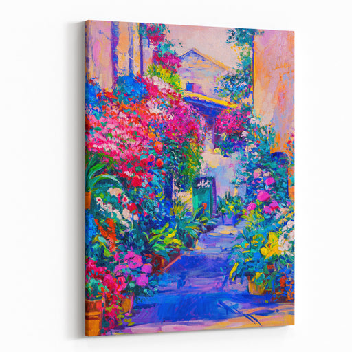 Original Oil Painting On Canvas White Houses With Pink Flowers And Blue Sky Modern Impressionism Canvas Wall Art Print