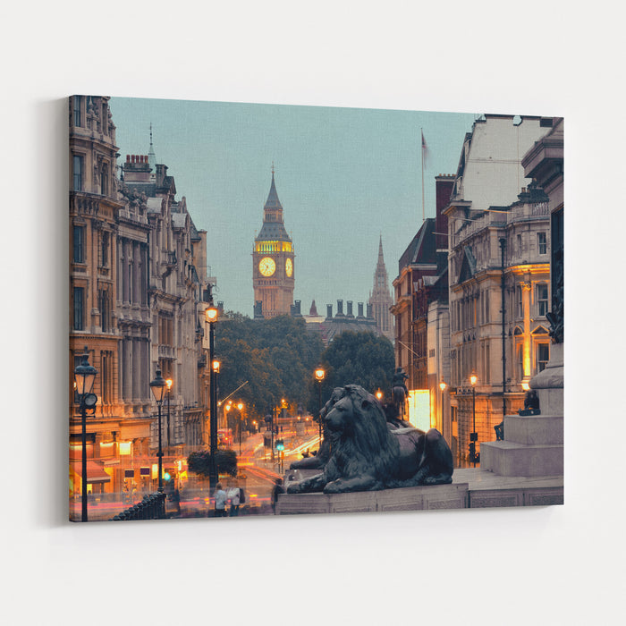 Street View Of Trafalgar Square At Night In London Canvas Wall Art Print