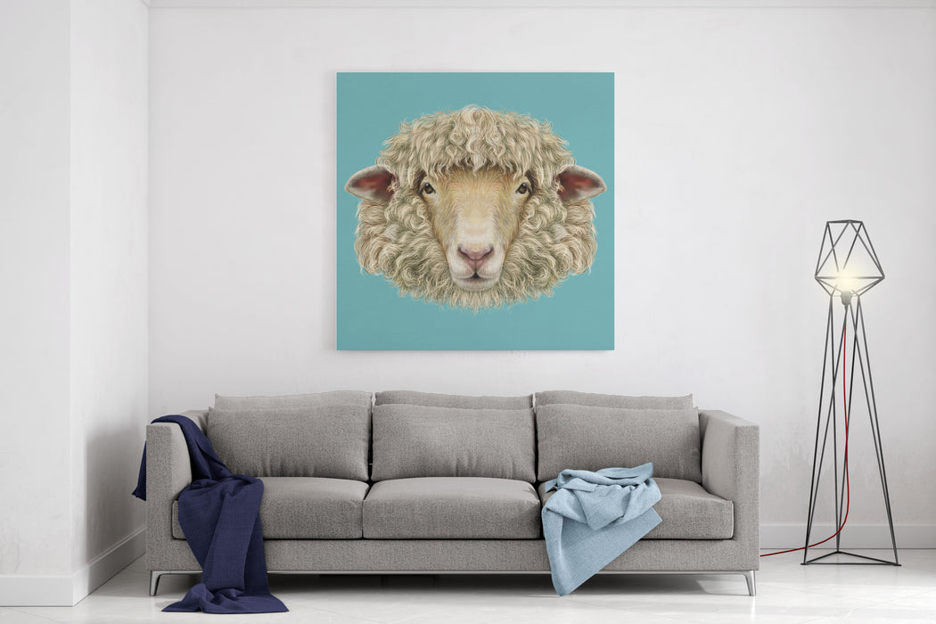 Sheep Portrait Illustrated Portrait Of Ram Or Sheep On Blue ...