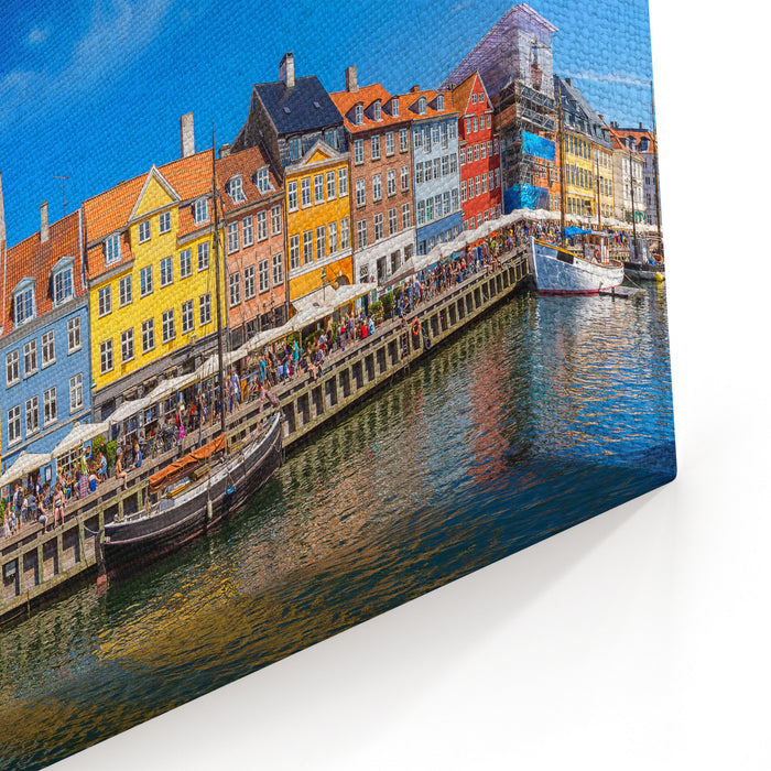 Nyhavn District Is One Of The Most Famous Landmark In Copenhagen In A Summer Day, Denmark Canvas Wall Art Print