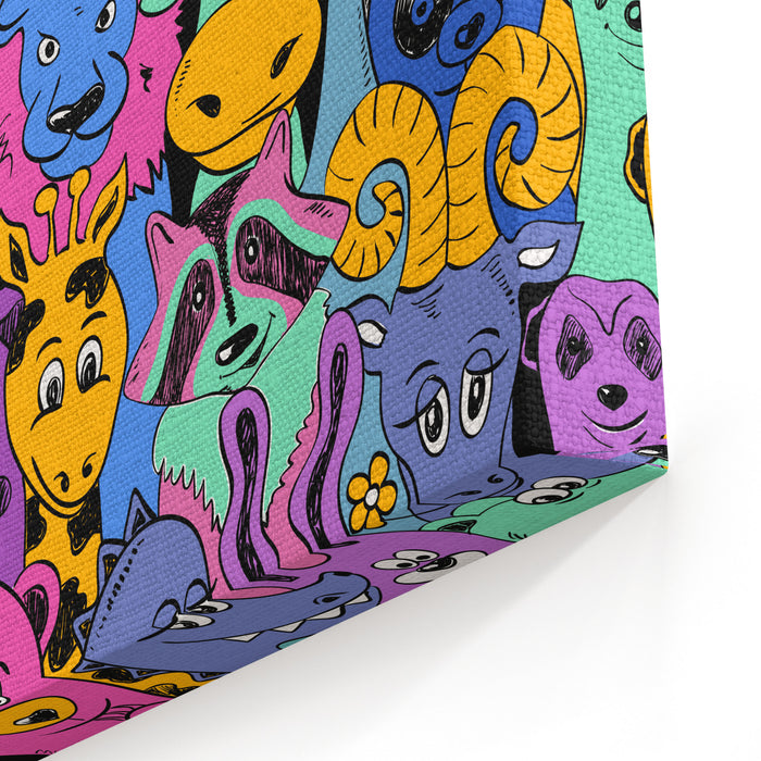 Colorful Bright Psychedelic Seamless Pattern With Funny Animals Abstract Graphic Animal Background Canvas Wall Art Print