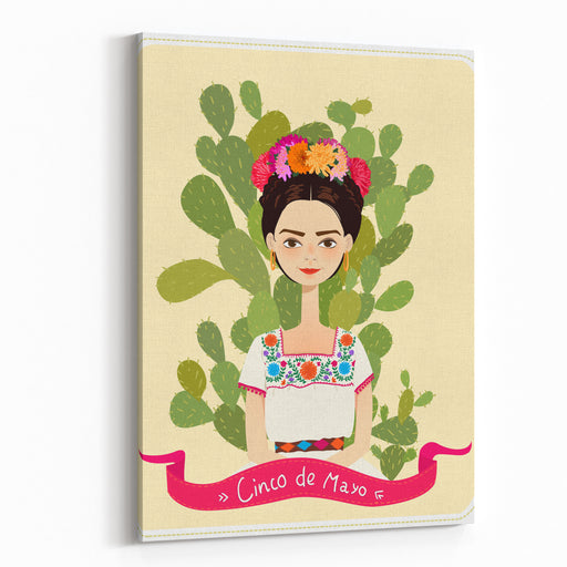 Cute Mexican Girl In An Ancient Dress Cactus In The Background Text Fifth Of May Vector Illustration Canvas Wall Art Print
