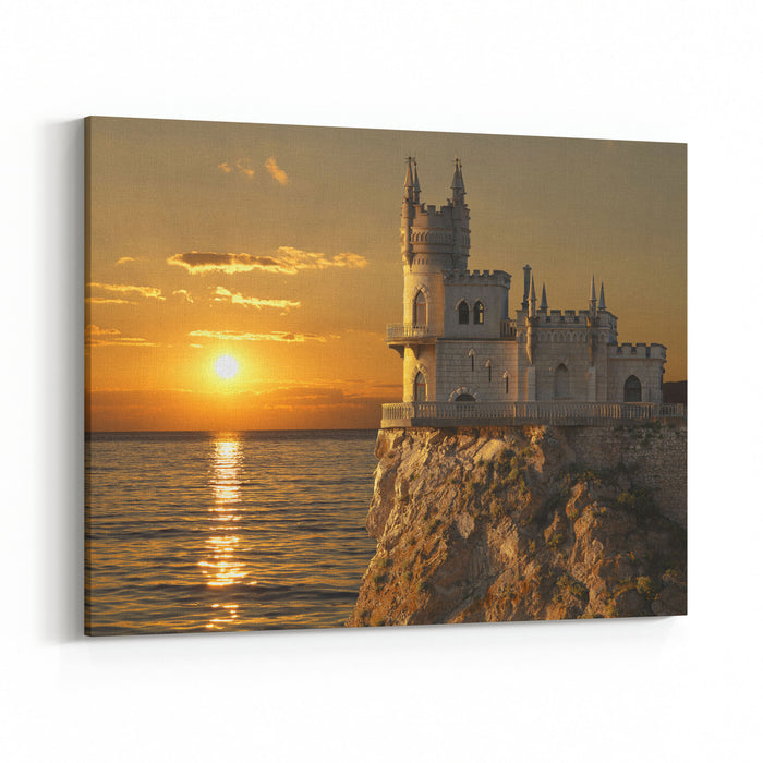 Swallows Nest Castle On The Rock Over The Black Sea On The Sunset Gaspra Crimea, Russia Canvas Wall Art Print
