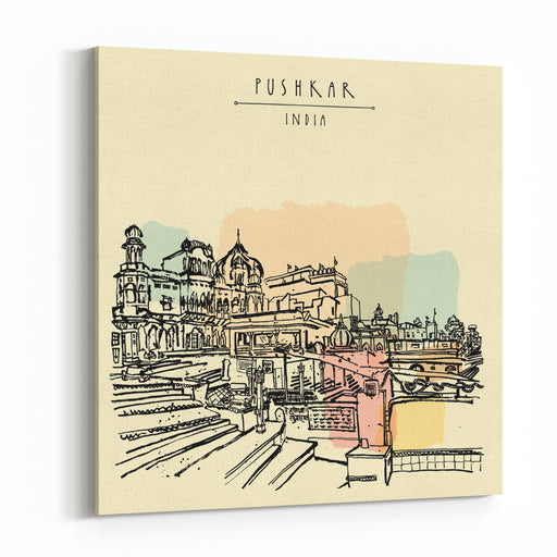 Pushkar, Rajasthan, India Brahma Ghat Colored Vintage Touristic Postcard, Poster Template, Calendar Page Idea Sketchy Hand Drawing And Hand Lettered Title Canvas Wall Art Print