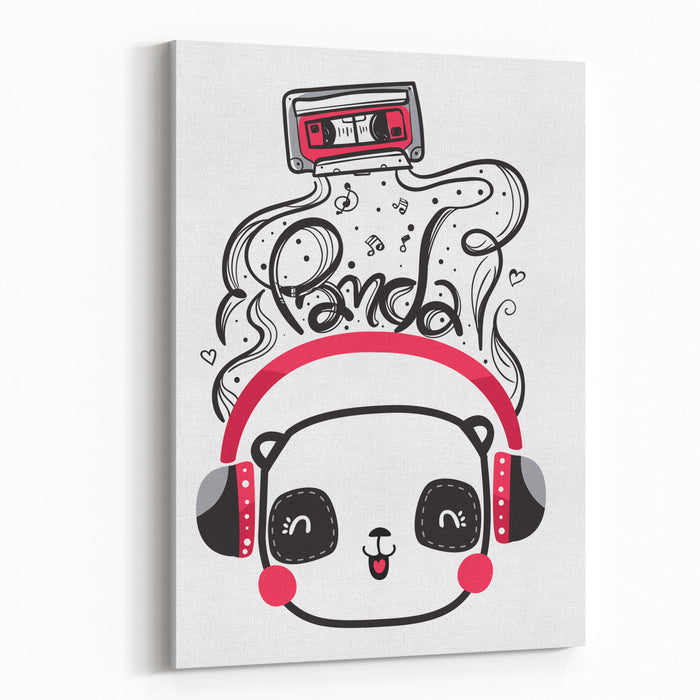 Cute Panda With Headphones Listening To Music A Cassette Vector Canvas Wall Art Print