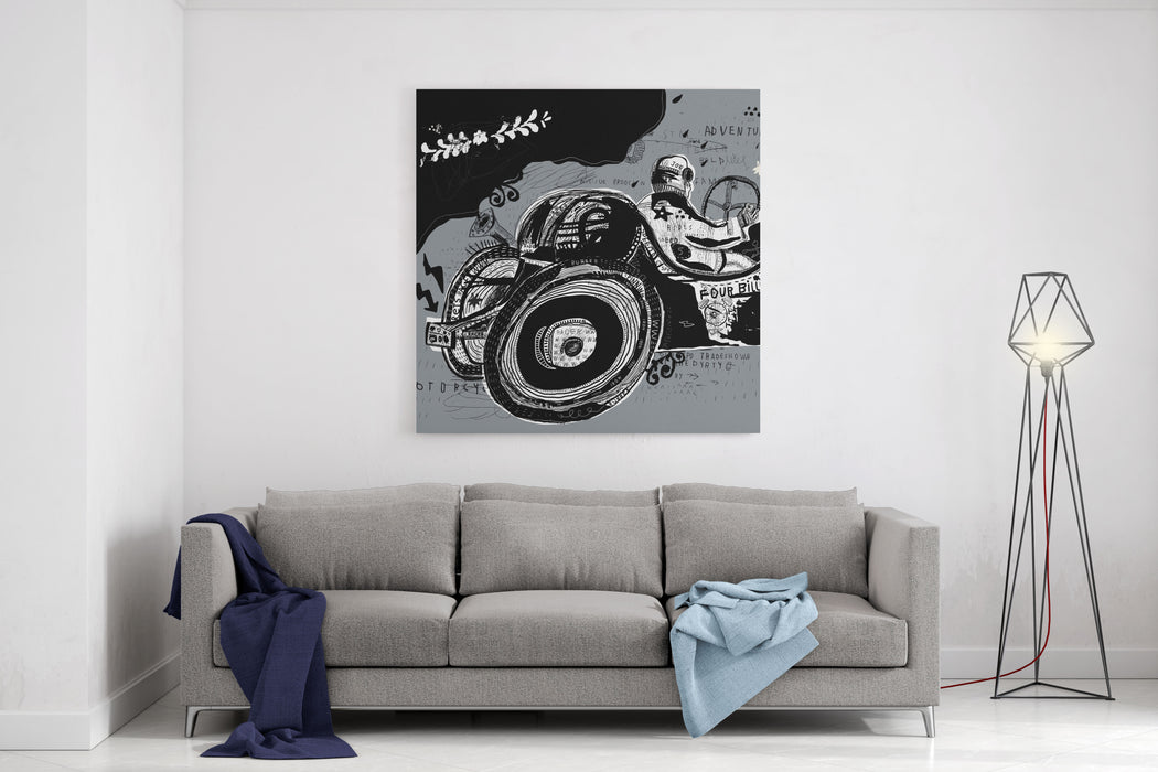 Symbolic Image Of An Old Sports Car Canvas Wall Art Print