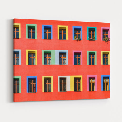 Brightly Colorful Facade Of An Apartment Building In BerlinKreuzberg Canvas Wall Art Print